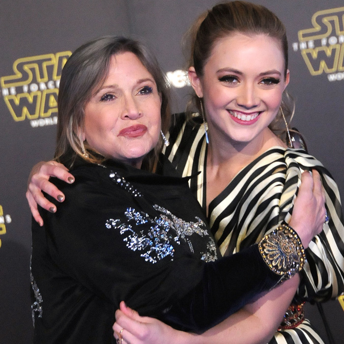 As Carrie reprised her iconic <em>Star Wars</em> role, her daughter Billie made her debut in the franchise playing the role of Lieutenant Connix (sporting mom's signature buns). The mother-daughter duo were all smiles as they posed on the red carpet for the 2015 film.