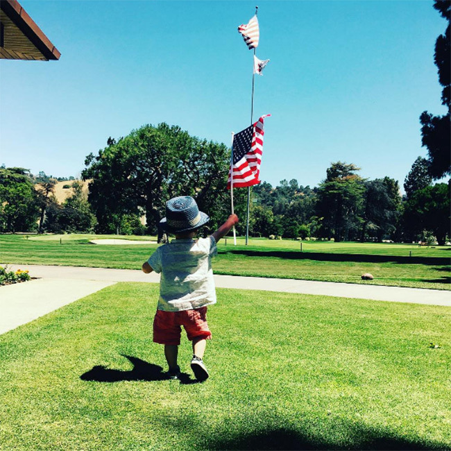 "Justin Timberlake showed that his son, Silas Randall, has learned how to walk as he ran outside while waving an American flag. Justin captioned the picture: ""Happy 4th of July, America! – The Timberlakes.""