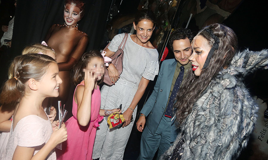 Suri Cruise, the ten-year-old daughter of Katie Holmes and Tom Cruise, couldn't contain her excitement when meeting Leona Lewis in her Grizabella costume after watching her in Broadway's <em>Cats</em>. 
