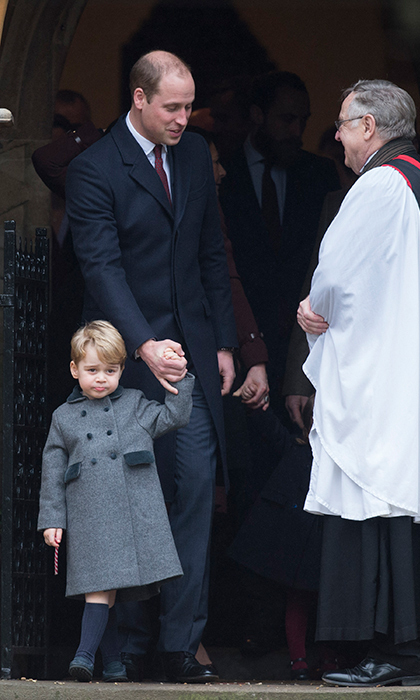 Prince William kept a tight grip on his adorable son's hand after church in Buckleberry. 