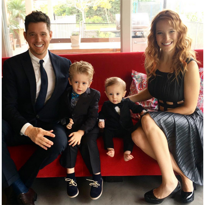 Before Michael Buble and Luisana Lopilato shared the heartbreaking news that their son Noah (L) was battling cancer, the family of four, including their youngest son Elias, enjoyed a family day out on Mother's Day.  <p>Photo: Instagram