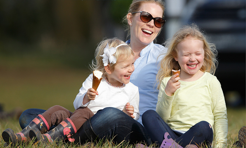 Autumn Phillips and her beautiful daughters Isla, 4, and six-year-old Savannah (R) enjoyed a sweet treat while watching show jumping at the Gatcombe Horse Trials in Stroud, England. 