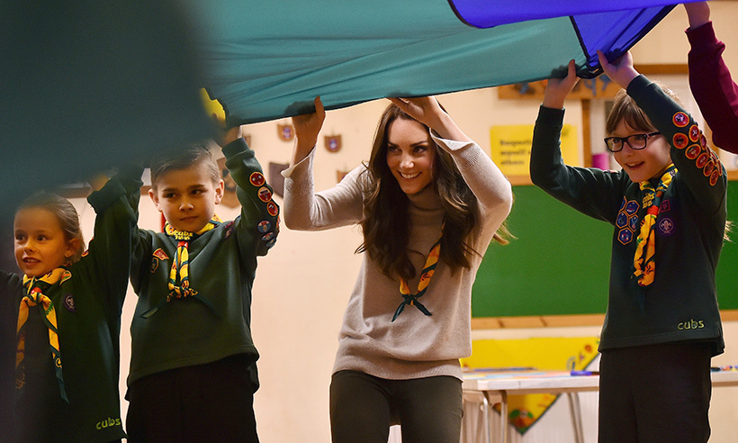 Up, up and away! Kate had some fun playing parachute games with some Cub Scouts in Kings Lynn. The royal helped the organization celebrate its 100th anniversary. 