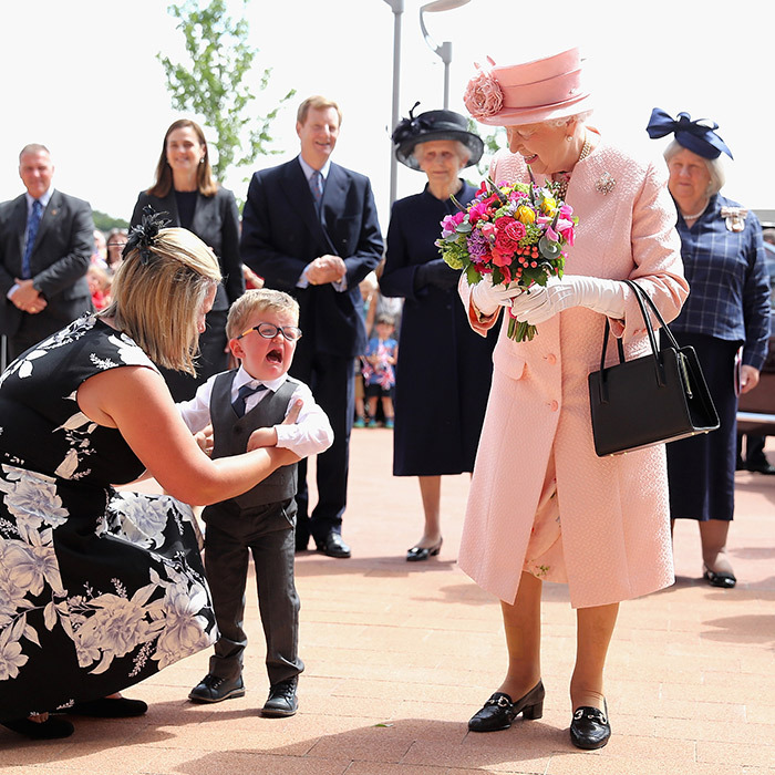 Two-year-old Lewis Connet couldn't hold back the tears when he met the Queen at the official opening of Alder Hey Children's Hospital in Liverpool. 