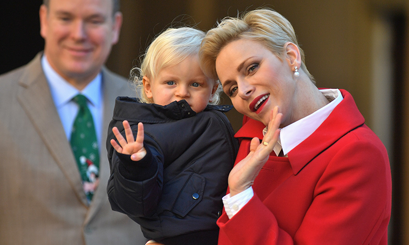 Prince Jacques of Monaco helped his mom, Princess Charlene, hand out presents at the royals' annual Christmas gifts distribution party. 