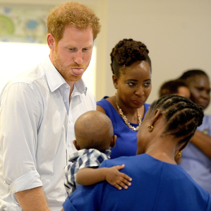 Prince Harry pulled some funny faces while visiting with children at the Nightingale Children's Home in Barbados. 
