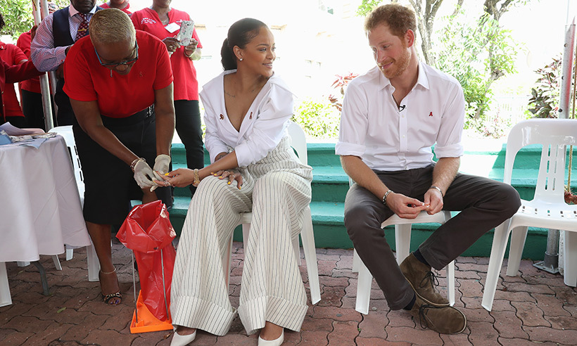 Rihanna helped Prince Harry raise awareness for HIV tests during the royal's visit to Barbados in November. 