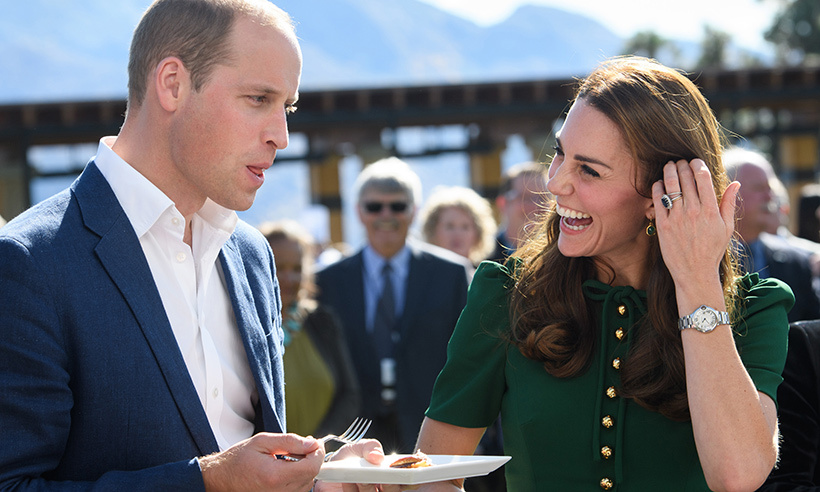 Kate let her husband take the first bite during a culinary event in Kelowna. 