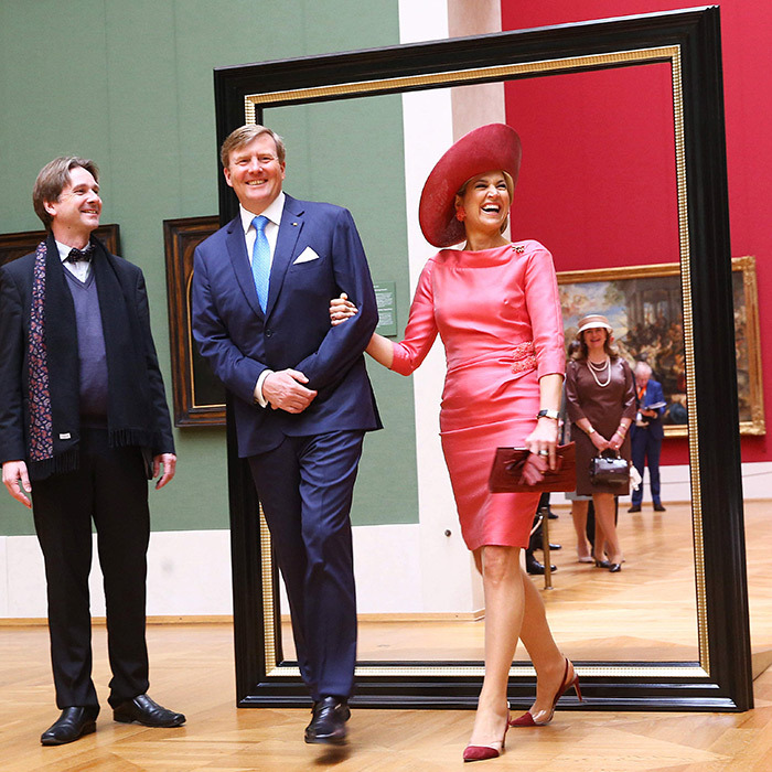 Queen Maxima and King Willem-Alexander were framed during a visit to Alte Pinakothek art museum in Munich. 