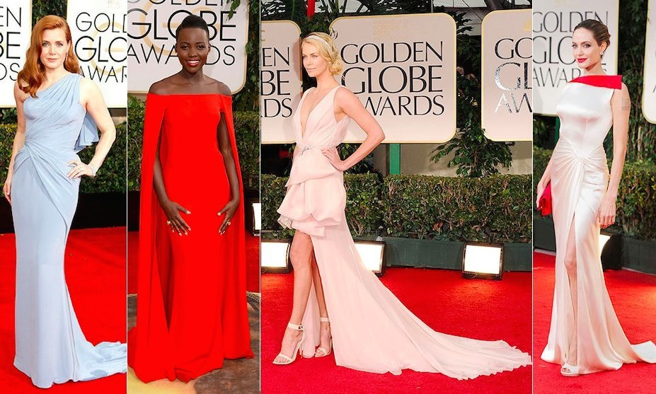 Lupita Nyong'o in Ralph Lauren, Charlize Theron in Christian Dior, Amy Adams in Versace and more of the most talked about Golden Globes red-carpet gowns of all time.