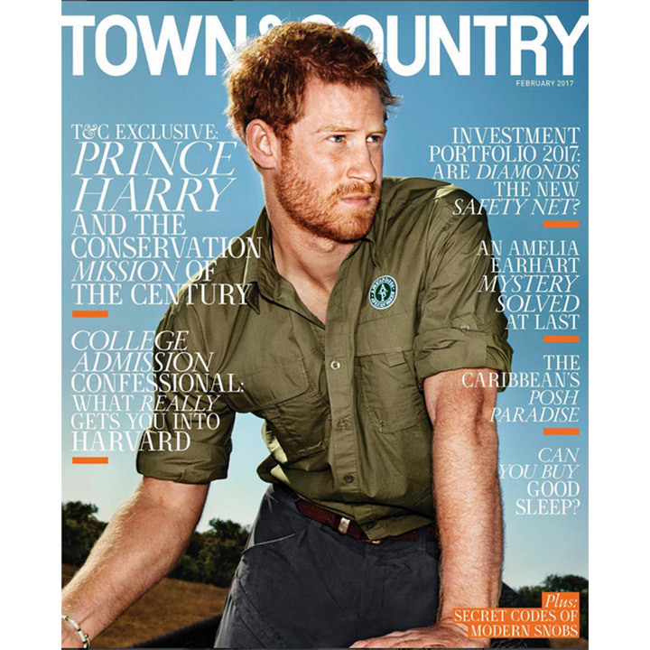 Prince Harry took a turn as a cover model for <em>Town & Country</em>'s February 2017 issue. The 31-year-old invited the magazine along on his trip to Malawi, where he assisted African Parks with its 500 Elephants relocation project. 