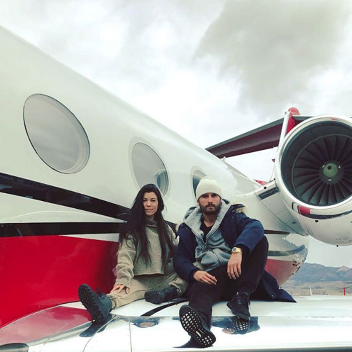"<h3>Scott Disick and Kourtney Kardashian</h3><p>Scott and Kourtney headed off for the ultimate winter getaway, with a skiing holiday in Aspen. Scott shared a fun snap of the pair posing on the wing of their jet before flying, while Kourtney posted a short clip of the pair dancing together in a quirky tribute to ""disco disco"".</p><p>Photo: © Instagram</p>"