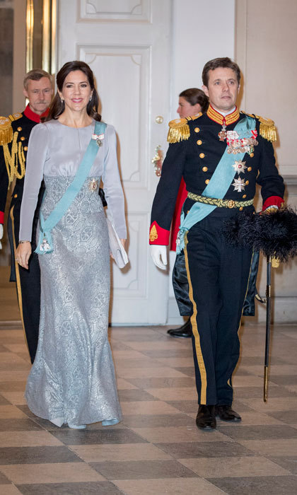 Crown Princess Mary wowed in a periwinkle number alongside her husband, Crown Prince Frederik, at a New Year reception for the diplomatic Corps at Christiansborg Palace.
