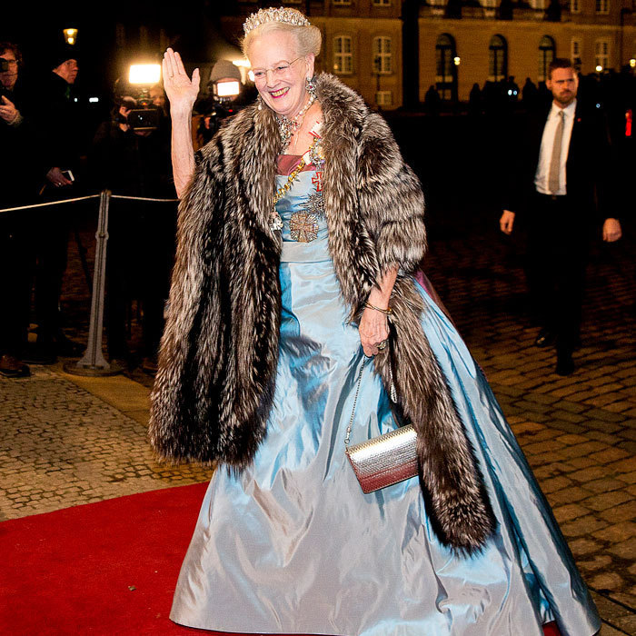 Queen Margrethe of Denmark made a grand entrance at the New Year's reception held at the Christian VII's Palace at Amalienborg in Copenhagen.