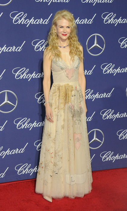 January 2: Nicole Kidman looked whimsical donning a full-length Dior dress that featured playful prints to the 2017 Palm Springs International Film Festival Awards Gala sponsored by Chopard.