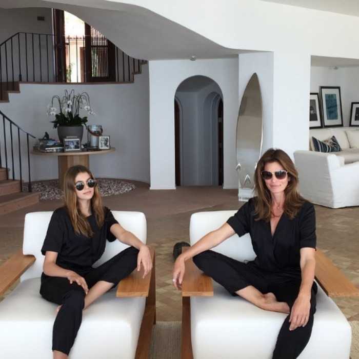 "<h3><a href=""/tags/0/cindy-crawford/"" target=""_blank"">Cindy Crawford</a> and <a href=""/tags/0/kaia-gerber/"" target=""_blank"">Kaia Gerber</a></h3><p>Cindy and Kaia took their twinning to the next level in this photo that shows the duo lounging around the house in matching CO+CO jumpsuits.</p><p>Photo: © Instagram</p>"