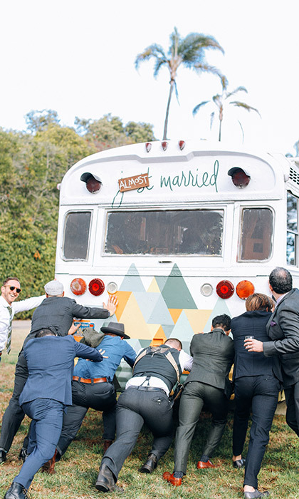 The groom travelled from the campsite to the ceremony in a bus with his family and friends. His pals made sure to get him there on time – even when their bus got stuck.