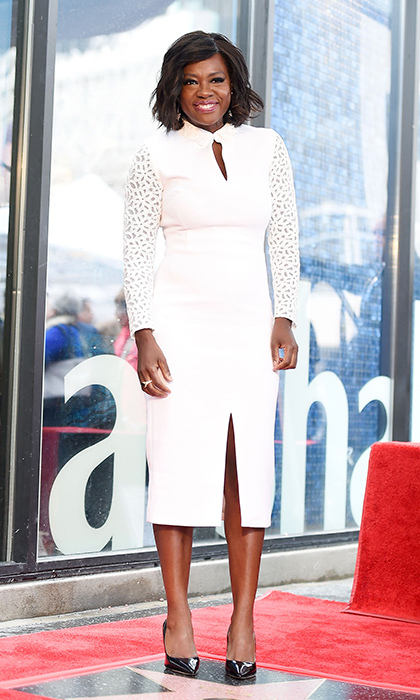 Jan. 5: Viola Davis was a vision in a textured sleeve dress by Christian Siriano at the unveiling of her star on the Hollywood Walk of Fame. 