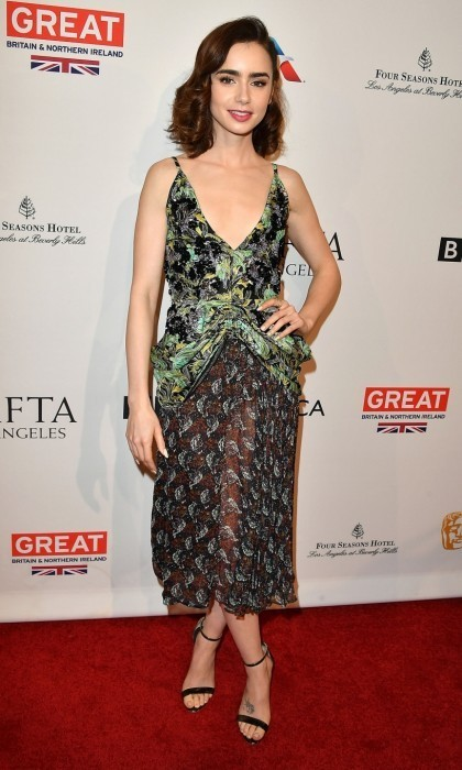Jan. 7: Lily Collins wore Dior and Schutz heels to the the BAFTA Tea Party at the Four Seasons Hotel Los Angeles in Beverly Hills. 