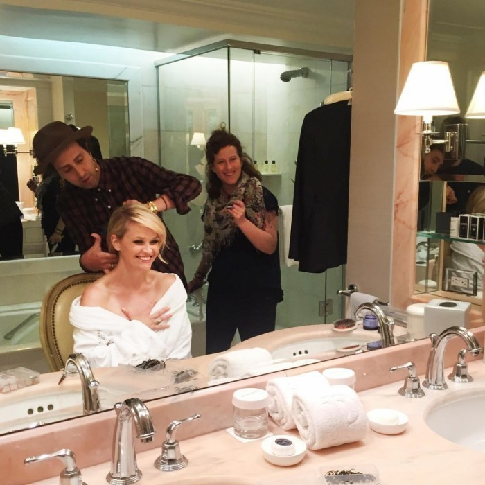 Reese Witherspoon was excited to hit the carpet as she got ready for the Golden Globes with her team.