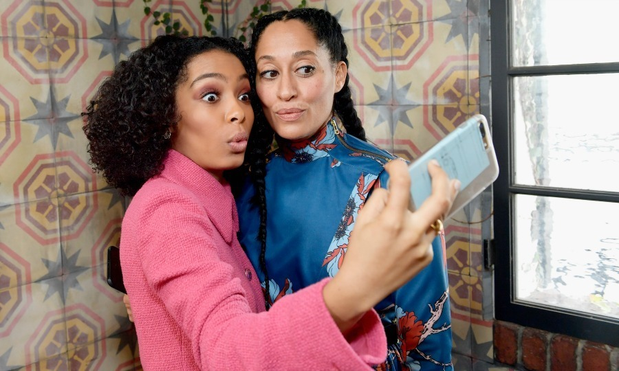 <strong>January 7:</strong> <em>Blackish</em> stars Yara Shahidi and Tracee Ellis Ross got in close for a silly selfie during the Lynn Hirschberg Celebrates <em>W Magazine</em>'s It Girls with Stuart Weitzman at A.O.C in L.A.