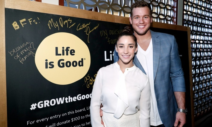 "<strong>January 7:</strong> NFL player Colton Underwood and Olympic athlete Aly Raisman attended the Life is Good at GOLD MEETS GOLDEN Event at Equinox in Los Angeles, California. Joined by other celebs, the pair wrote ""why life is good"" on a gratitude wall in order to raise money for kids in need.