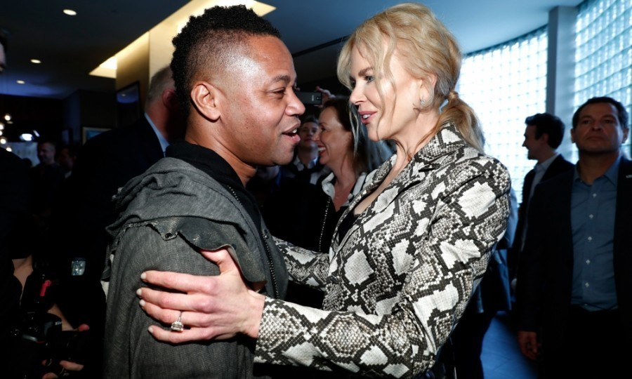 <strong>January 7:</strong> Nicole Kidman and Cuba Gooding Jr. shared a moment at GOLD MEETS GOLDEN. The stars also attended the event at Equinox in LA.