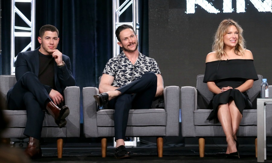 <strong>January 5:</strong> Fight night! <em>Kingdom</em> stars Nick Jonas, Jonathan Tucker and Kiele Sanchez chatted about the series during day one of the 2017 Winter TCA Tour in Pasadena, California.