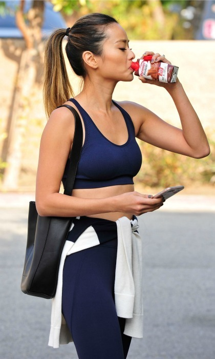 <strong>January 2:</strong> Shake break! Jamie Chung refueled with a Premier Protein Chocolate Shake after a workout in L.A.