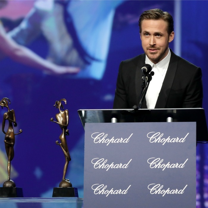 <strong>January 2:</strong> La, la, lucky! Ryan Gosling spoke on stage during the 28th annual Palm Springs International Film Festival Film Awards Gala.