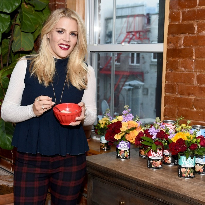 <strong>December 23:</strong> Busy Philipps was spotted celebrating the launch of Campbell's new Well Yes! soup in NYC.