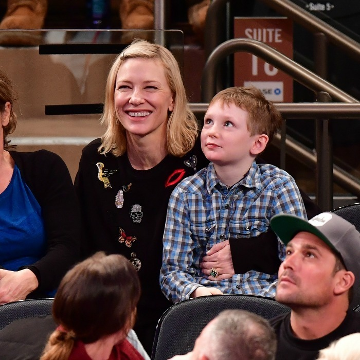 <strong>January 2:</strong> Cate Blanchett and her son Ignatius enjoyed the Orlando Magic vs. New York Knicks game at Madison Square Garden in NYC.