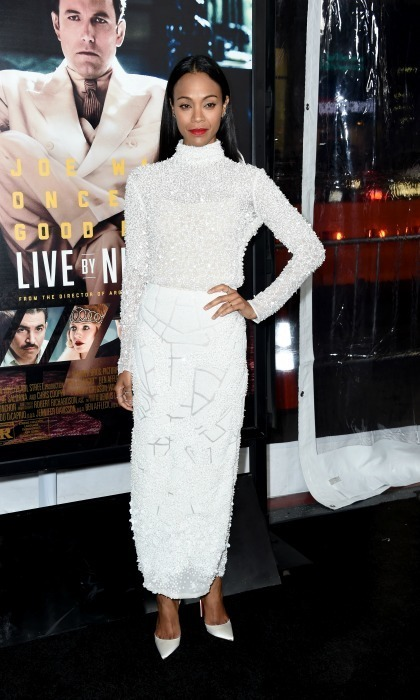 Jan. 9: Work it! Zoe Saldana stunned in an all-white dress by J. Mendel at the premiere of <em>Live by Night</em> in Hollywood. 