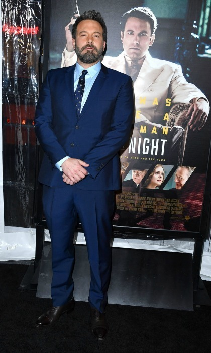 Jan. 9: Like a boss! Director Ben Affleck looked sharp in a blue suit at the Hollywood premiere of his new drama, <em>Live by Night</em>.