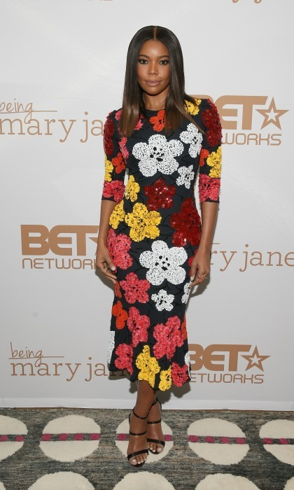 Jan. 9: Gabrielle Union brought spring to chilly NYC wearing a floral dress by Naeem Khan to a screening of <em>Being Mary Jane</em>.