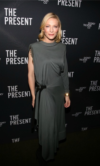 Jan. 8: Cate Blanchett looked stylish in a charcoal dress for the opening night of her new Broadway show <em>The Present</em>.