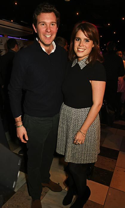 Princess Eugenie joined her boyfriend Jack Brooksbank at the Bunga Bunga launch party in London wearing a collared tweed dress and black ankle boots.