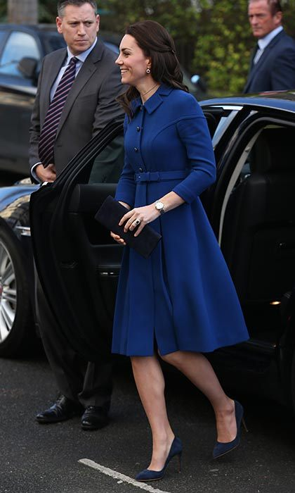 The Duchess of Cambridge wore an Eponine coat for a day of engagements in London.
