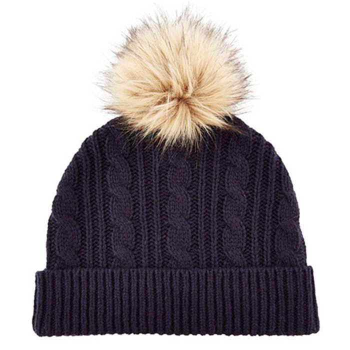 "Knitted pompom hat, $72, Whistles; visit <a href=""http://whistles.com"" target=""_blank"">whistles.com</a>"