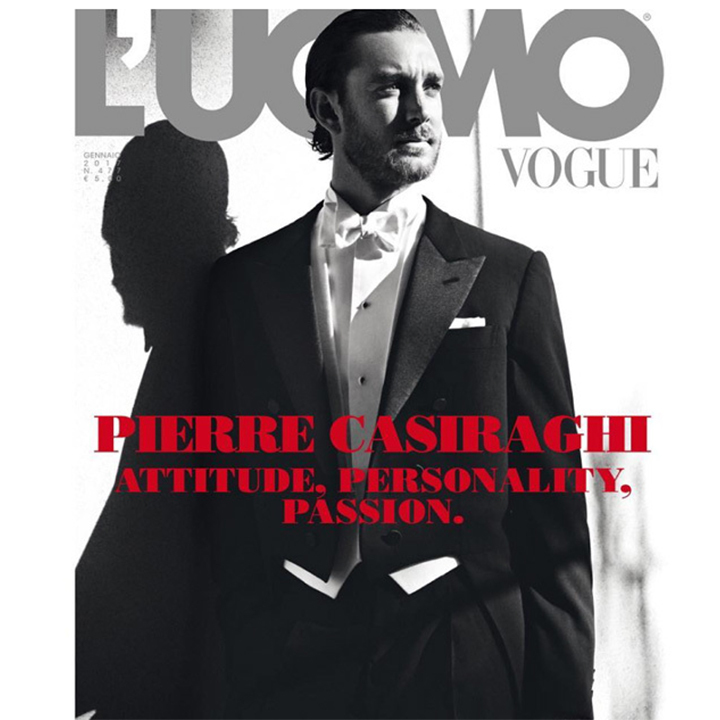 Attitude, personality and passion! Princess Caroline's son, Pierre Casiraghi looked dapper wearing Maison Valentino on the cover of L'Uomo Vogue's 2017 January Issue. 