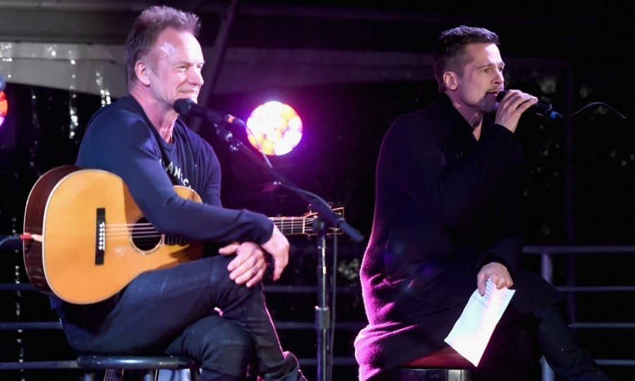 <strong>January 14:</strong> Brad Pitt happily joined Sting on stage at the ROCK4EB! event in Malibu. Hosted by Alex & Ani, the EBMRF benefit also saw attendees like Heidi Klum, and Cindy Crawford. 