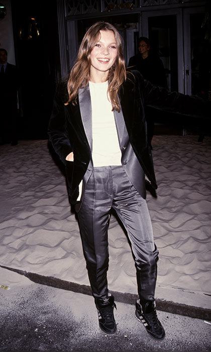 <h3>1. Pantsuits over everything</h3><p>It's been more than 20 years since Kate Moss wore this look, and we're still vibing on it. A silk pantsuit and white t-shirt combo is put-together in the coolest way possible.</p><p>Photo: &copy; Shutterstock</p>