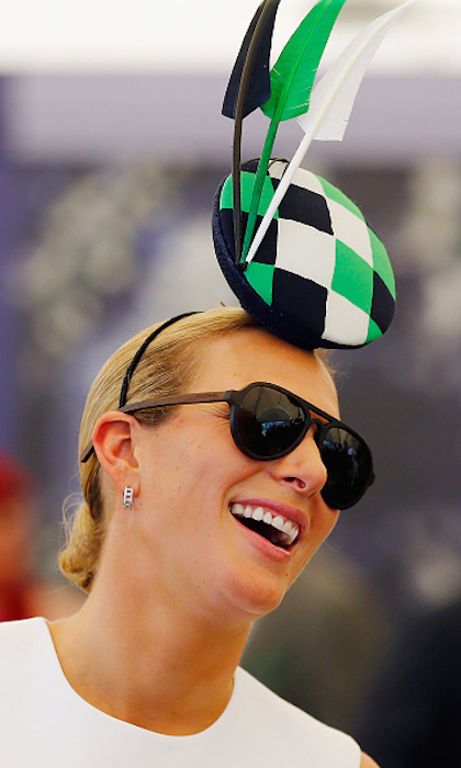 Zara Tindall showed off a bespoke fascinator during the Magic Millions Raceday in Australia. 