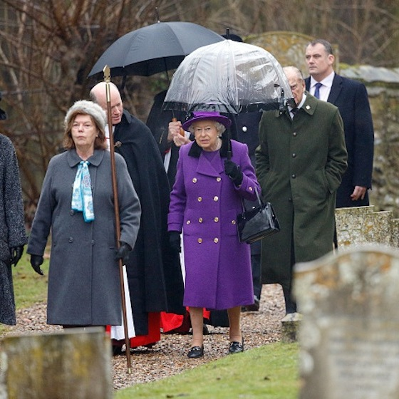 The Queen looked elegant in purple as she headed to church on Jan. 15. 