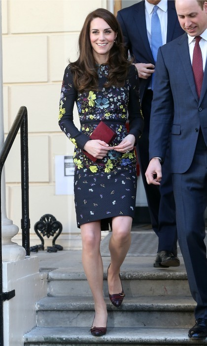 "For her second engagement of the year, Kate wore the ""Evita"" dress by Erdem. The Duchess paired the dress with burgundy shoes and a matching clutch.