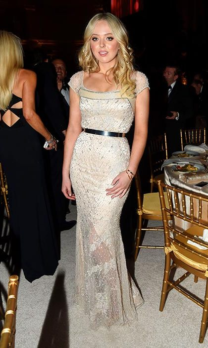 Tiffany Trump wore a Swarovski embellished Anne Bowen dress.