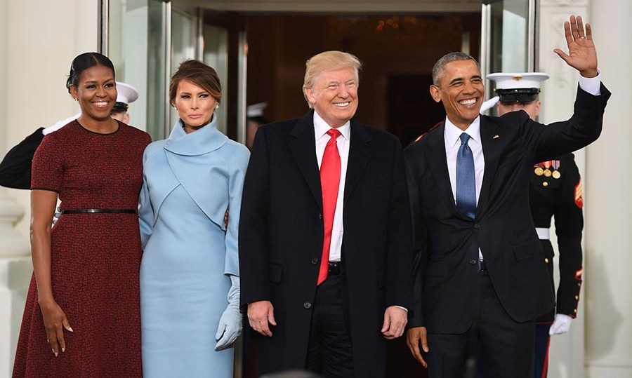 Melania and Donald Trump joined Barack and Michelle Obama at the White House.