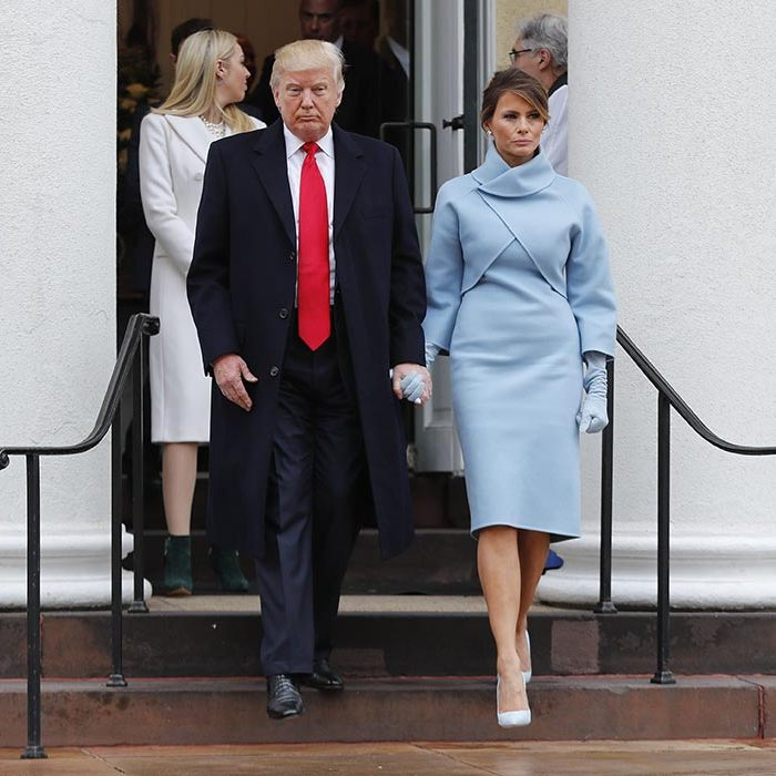 Melania Trump wore a Ralph Lauren ensemble for the inauguration.
