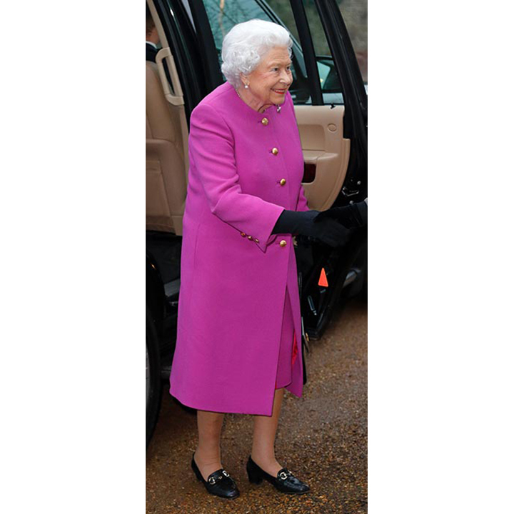 The Queen wore a bright fuchsia coat to attend a WI meeting in Norfolk, marking her first official engagement of the year.