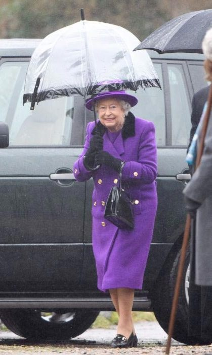 Her Majesty appeared back to full health as she attended a church service wearing a bold purple coat and dress.